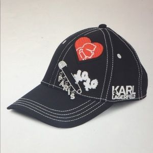 🆕 Karl Lagerfeld Paris Logo Patch Baseball Cap